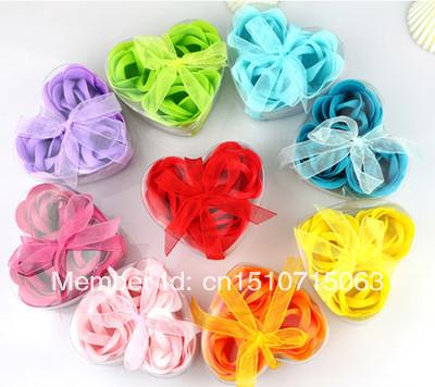 Hotsale 3pcs Perfumado banho de flores Sabonete Rose Petal na Caixa coração favor do casamento dMuye(China (Mainland))