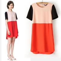 Summer new Dress Short-sleeved Skirt Patchwork color