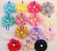 Hot sale Chiffon fllowers for headband Vintage Chiffon Shabby Look Flowers with half pearl headwear Hair Accessories 200PCS