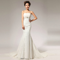 New fashion a line sweetheart beading belt backless mermaid wedding dress gown wedding dress 2014 size S-XXL free shipping