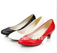 Free shipping New fashion Patent Leather high heel shoes low heels pumps women shoes 3 Colors