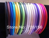 Free Shipping (360pcs/lot)Plastic Satin Ribbon Headbands Ribbon Covered Headbands 0.8CM Wide For Toddlers Children