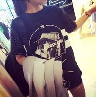 2014 spring fashion paillette personalized print short-sleeve T-shirt women's