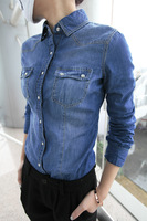 Free shipping 2014 New Arrive High Quality Women Denim Shirt Plus Size Long Sleeve Spring Blouse Blue Color T3120