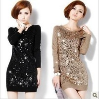 Free shipping 2014 spring Spring plus size clothing plus size mm medium-long basic shirt one-piece dress sweater female