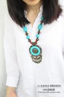 National accessories tibetan jewelry bohemia big round shingle necklace g-190