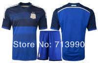 2014 world cup Argentina away blue jerseys KUN AGUERO 16 MESSI 10 LAVEZZI 22 custom 2014 World Cup Argentina away soccer jerseys