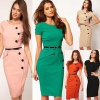 New 2014 Elegant Knee Length Professional Office Dress Classic Button Brief Bodycon Dress Women Work Wear Plus Size XS-XXXL