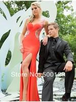 Fashion New Custom Made Sweetheart Crystal Chiffon Evening Dresses Slit Cap Sleeve Floor Length Long Prom Dresses 2014