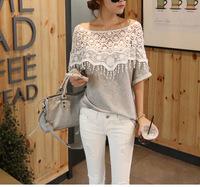 2014 sweet lace cutout shirt women handmade crochet cape collar batwing sleeve blouse medium-long t shirt clothings for female