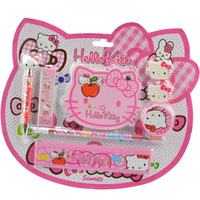 2014 New arrive cartoon design stationery set Hello kitty Automatic pencil set Lovely school learning tool Cartoon notebook
