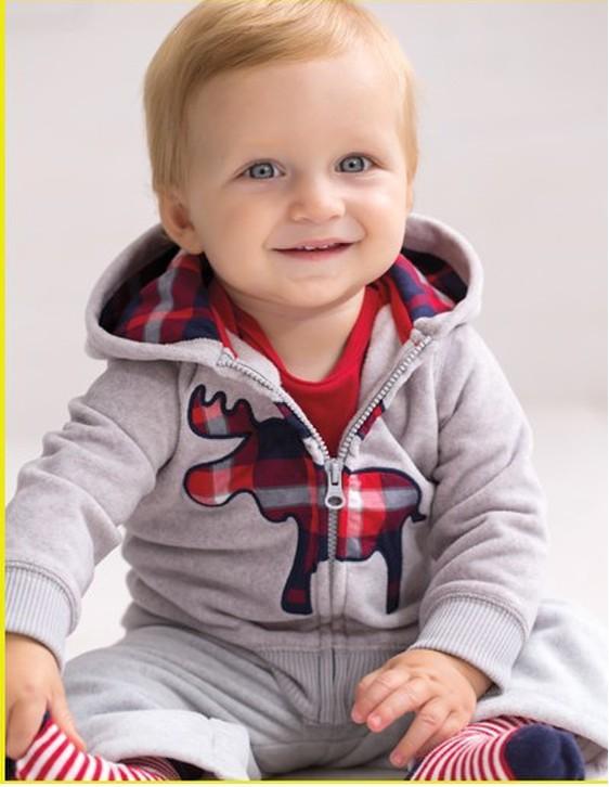 TZ-231 free shipping new style Original Carters children set boy fawn sports suit coat+pants 2pcs cotton baby clothes retail