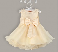 2014 NEW high-grade Children's princess dresses big bow flower girl dress summer chiffon wedding dress 5pcs/lot