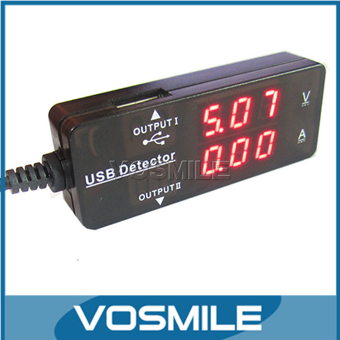 100pcs YB26VA DC Voltmeter Ammeter 3.2-10V 3A Apple Tablet phones Samsung S4 Charger LED Red USB 2in1 Volt Amp Meter #200946(China (Mainland))