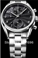 Hot sale 2013 watch men luxury analog hands calibre stop watch stainless steel round dial with  sport watch