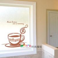 Home decoration glass windows decoration leoves music notes