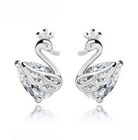 New Arrival,Swan Designs Earring,925 Sterling Silver Material on 3 Layer Platinum Plated,Top Quality Austria Crystal OE46
