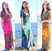 2014 Free Shipping New  arrival Female beach dress bohemian dress one-piece dress V-neck dress