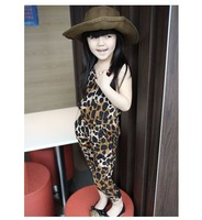 2014 NEW high-grade Children jumpsuits summer leopard print  Korean Style fashion clothes, girl sleeveless suspenders