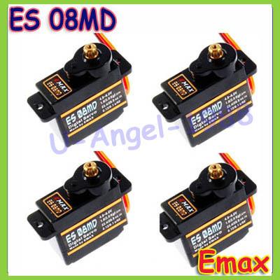Free shipping 4x EMAX ES08MD Metal GEAR Digital Servo up sg90 ES08A ES08MA MG90S TREX 450(China (Mainland))