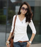 Womens Korean Solid Long Sleeve V Neck Slim Casual Blouse Tee Shirt Tops