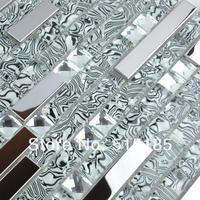 wholesale stainless steel metal crystal glass mosaic mirror tile pattern decorative floor tile