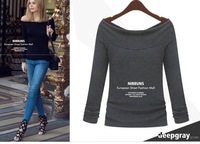 Womens Casual Cotton Boat Neck Off Shoulder Sexy Long Sleeve Slim Basis T-Shirt Tops Blouse
