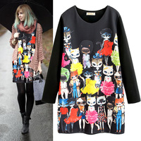 Sexy dress Fashion t-shirt fashion cat print loose medium-long one-piece dress t mm basic t-shirt