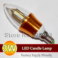 Fedex 100PCS Wholesale 3W E14 110V 220V SMD 3014 Golden Warm Nature White Light 360 Degree LED Transparent PC Candle Bulb Lamp