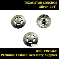 Wholesale 10pc 3/4'' Western Concho Texas Star Saddle Concho Leathercraft Silver