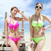 Free shipping Neon color new 2014 steel push up women swimwear swimsuit sexy bikini set