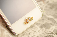 2014 Real Promotion Bling Golden Beard Diamond Handmade Diy Home Button Sticker for Iphone for Ipad Free Shipping C025