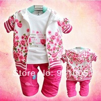 Retail+Free Shipping Baby girl clothing set for spring children's garment flower print plus velvet clothing set coat+shirt+pants