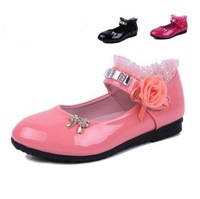 New Style Spring&Autumn Sweet Girl's Single Shoes Velcro Roses Children Soft-soled PU Leather Cute Bow With Flower Shoes B004