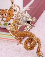 Free Shipping Quality metal diamond keychain chinese dragon zodiac key chain car quality key chain hangings package chain