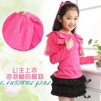 Children's clothing female child 2014 spring mounted spring clothing princess long-sleeve basic shirt t-shirt