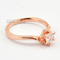 New Free Shipping Fashion Jewelry Womens Girls Clear Cubic Zirconia 18K Rose Gold Filled Ring Gold Jewellery R3R