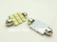 Free shipping 100pcs/lot Car Auto Interior 9 LED 41mm White 5050 SMD  Festoon Dome Light LED Licence Plate Roof Car 12V  Light