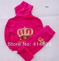 Retail 100-125cm Girls Autumn Velvet Crown 2PCS Tracksuit, Coat+ Pants Sportswear, 3 colors
