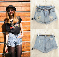 Details about NEW Retro Women Girls High Waist Ripped Flange Hole Wash White Jean Denim Shorts