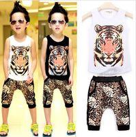 Top On Top wholesale tiger print t-shirt + haren shorts suits kids leopard clothing set  boys summer sets