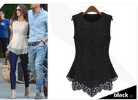 Free Shipping European Style Fashion Summer Lace Embroidery Blouses Women T-shirt Plus Size,S-XXXL.A133