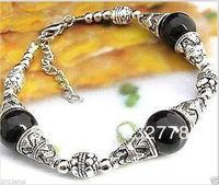 beautiful Tibet Silver Black Jade Jewelry bracelet
