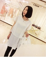 1pcs spring of 2014 new Double layer chiffon open fork design irregular chiffon dress free shipping