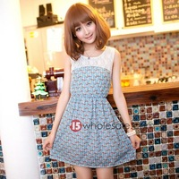 New Korean Style Elegant Little Kitty Chiffon Lace Patchwork Dress 6922