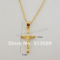 "Min order 10$/Free Shipping/NEW DESIGN 24K YELLOW GOLD OVERLAY 18"" NECKLACE & JESUS CROSS GOD PENDANT CUTE/Great Money Maker"