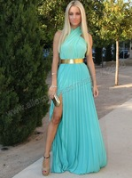 Turquoise Chiffon With Gold Belt Prom Dress 2014 New Arrival Free Shipping Halter With Sexy Slit Prom Dresses Chiffon Cheap