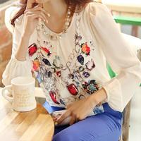 Free shipping New 2014 Spring summer new women Chiffon Blouse shirt large size Print Leisure render Korean style long sleeve
