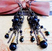 Fashion popular   black bead  women's vintage alloy earrings