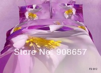 2014 new bedding 3D orchid floral printed girls comforter egyptian cotton queen full bed linen quilt cover set 4-5pc bedclothes